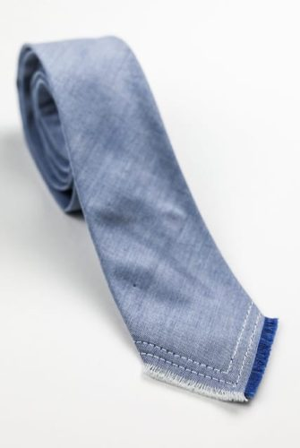 Ty-Amo Gender Inclusive Blue Chambray Classic Tie
