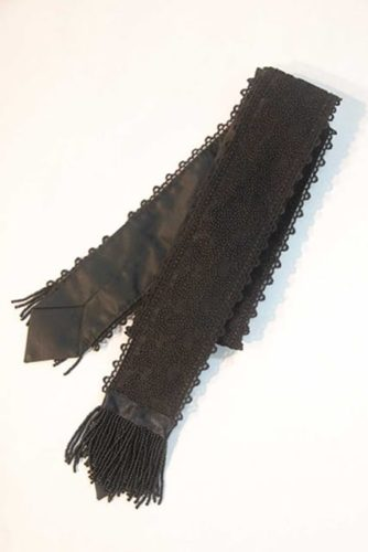 Ty-Amo Black beaded and lace wrap-around tie